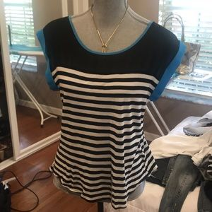Black and white stripes with blue borders